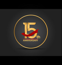 15 anniversary design golden color with ring vector