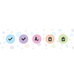 5 approved icons vector
