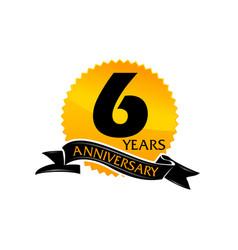 6 years ribbon anniversary vector
