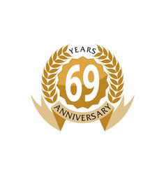 69 years ribbon anniversary vector image vector image