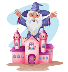 A pink castle with a wizard at the back vector