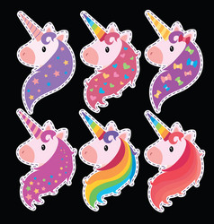 a set of portraits of unicorns in cartoon style a vector image