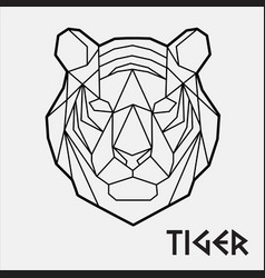 Abstract polygonal geometric head a tiger 02 vector