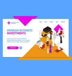arab muslims people 3d landing web page template vector image