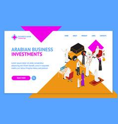 Arab muslims people 3d landing web page template vector