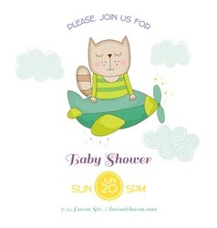 Baby shower or arrival card - cat flying vector