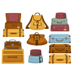 Bag and baggage of different shapes and color vector