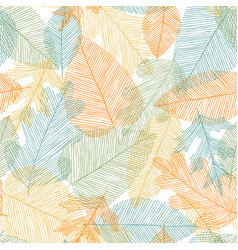 beautiful seamless doodle pattern with leaves vector image