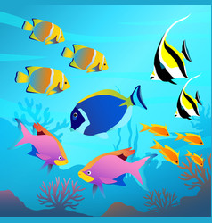 Beautiful underwater world seascape fish and sea vector