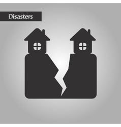 Black and white style house earthquake vector