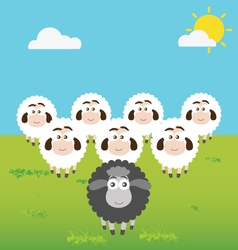 Black Sheep with Leadership Situation vector image