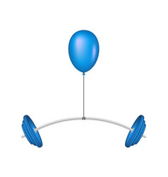Blue balloon lifting a heavy barbell vector