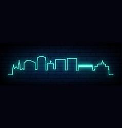 blue neon skyline colorado springs city bright vector image