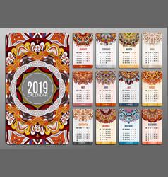 calendar 2019 round ornament pattern vintage vector image