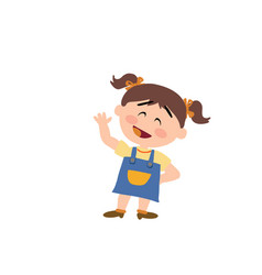 Cartoon character girl greeting vector