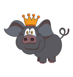 cartoon image of crowned pig vector image vector image