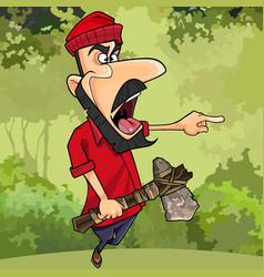 Cartoon lumberjack with axe threatening finger vector