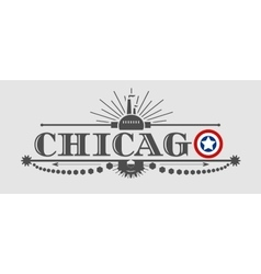 Chicago city name with flag colors styled letter O vector