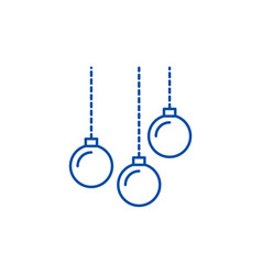 christmas balls line icon concept christmas balls vector image