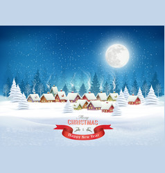 christmas evening landscape with winter village vector image