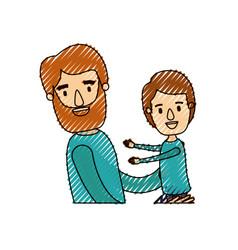 Color crayon stripe caricature half body bearded vector