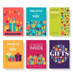Colorful vintage gift postcard set icons concept vector