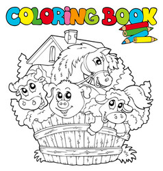 Coloring book with cute animals 2 vector