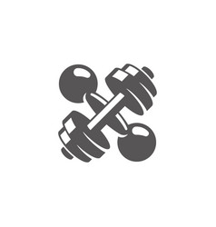 crossed dumbbells silhouette isolated on white vector image