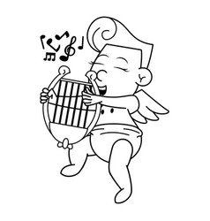 cupid with harp cartoon in black and white vector image