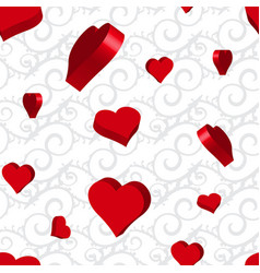Curly or swirly background with 3d hearts vector