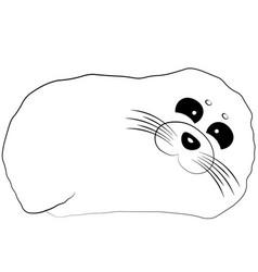 Cute cartoon seal draw in black vector
