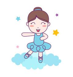 Cute girl ballerina dance blue custom on cloud vector