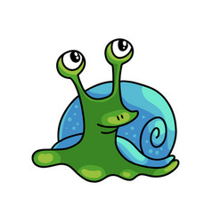Cute green snail with blue shell looks in air vector