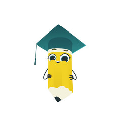 Cute pencil cartoon character in square academic vector