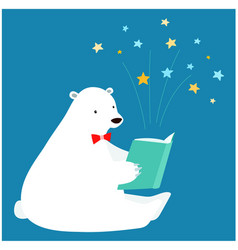 cute polar bear reading a book vector image