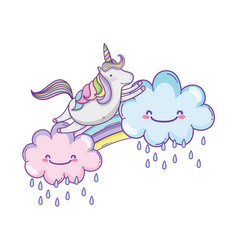 cute unicorn and clouds vector image