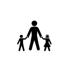 dad with his son and daughter icon vector image
