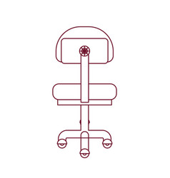 Dark red line contour of office chair back view vector