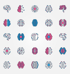Digital brain colored icons set - ai smart vector