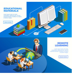 distance teaching banners set vector image vector image
