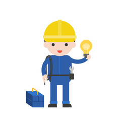 electrician cute character professional set flat vector image
