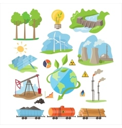 Energy Eco Resources Set vector