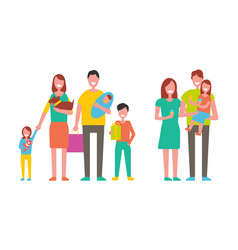 Family couple and children vector