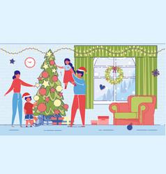 family on christmas or new year around xmas tree vector image