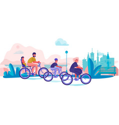 Family riding bicycles in park parents vector