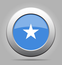 Flag of somalia metal gray round button vector
