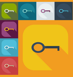 Flat concept set modern design with shadow key vector