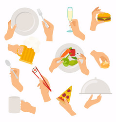 flat design of hand icons set concept of hand vector image