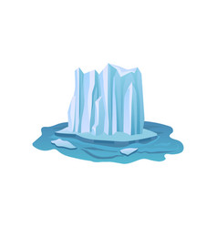 flat icon of large ice mountain floating in vector image