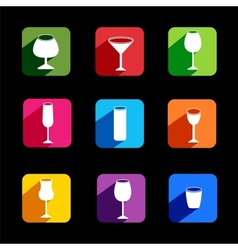 flat icons wine set for webmobile application vector image